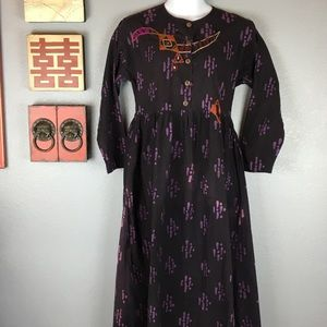 Purple Embroidered Cotton Boho Laganlook Size L